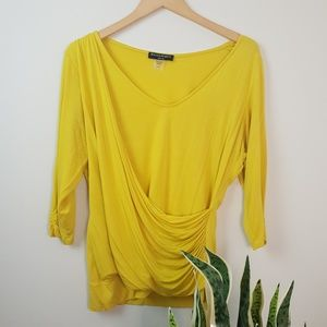 Vintage Long Sleeve Yellow Ruching Bright Yellow
